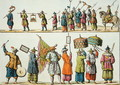 Principal attendants of the Chinese Emperors procession, illustration from Le Costume Ancien et Moderne by Giulio Ferrario, published c.1820s-30s - Gaetano Zancon