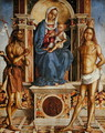 The Virgin and Child Enthroned with St. John the Baptist and St. Sebastian - Francesco Da Cotignola (see Zaganelli, Francesco di Bosio)