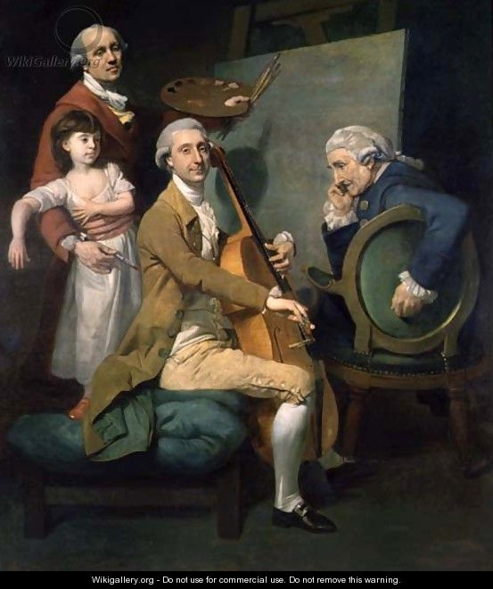 Self Portrait With his Daughter, Maria Theresa and Possibly Giacobbe and James Cervetto c.1779 - Johann Zoffany