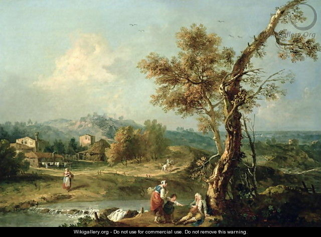 An Italianate River Landscape with Travellers - Francesco Zuccarelli