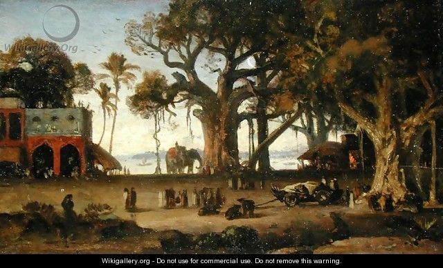 Moonlit Scene of Indian Figures and Elephants among Banyan Trees, Upper India (probably Lucknow) - Johann Zoffany