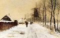Wood Gatherers On A Country Lane In Winter - Louis Apol