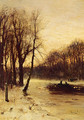 Figures In A Winter Landscape At Dusk - Louis Apol