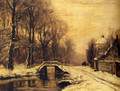 A Snowcovered Forest With A Bridge Across A Stream - Louis Apol