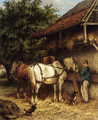 Two Horses By A Stable - Wouterus Verschuur