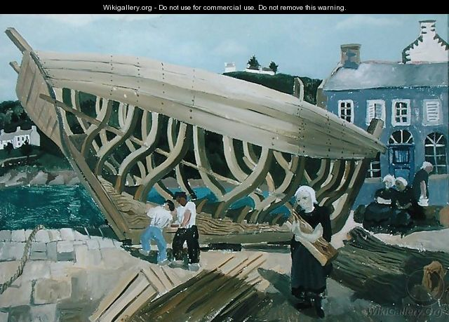 Building the Boat, Treboul, 1930 - Christopher Wood