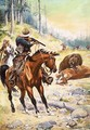 American cowboys surround a bear crouched over the body of a cow - Stanley L. Wood