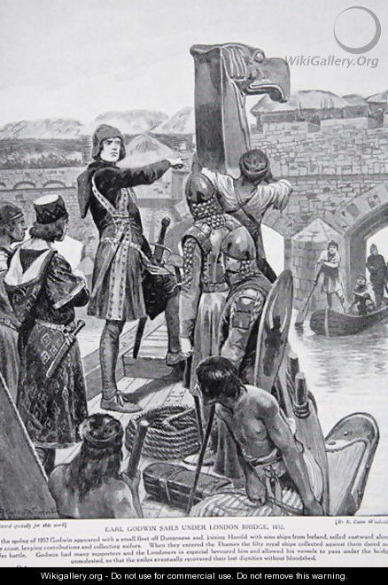 Earl Godwin sails under London Bridge in 1052, to join his son Harold with 9 ships from Ireland, illustration from the book The History of the Nation - Richard Caton Woodville