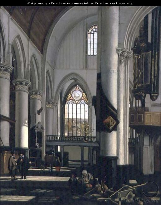 Interior of an Imaginary Protestant Gothic Church - Emanuel de Witte