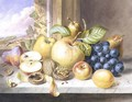 A Still Life of Apples, Grapes, Pears, Plums and Walnuts on a Window Ledge - Augusta Innes Withers