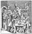 Martyrdom of Simon at Trent, after a woodcut in Liber Chronicarum Mundi, published Nuremburg, 1493 - Michael Wolgemut