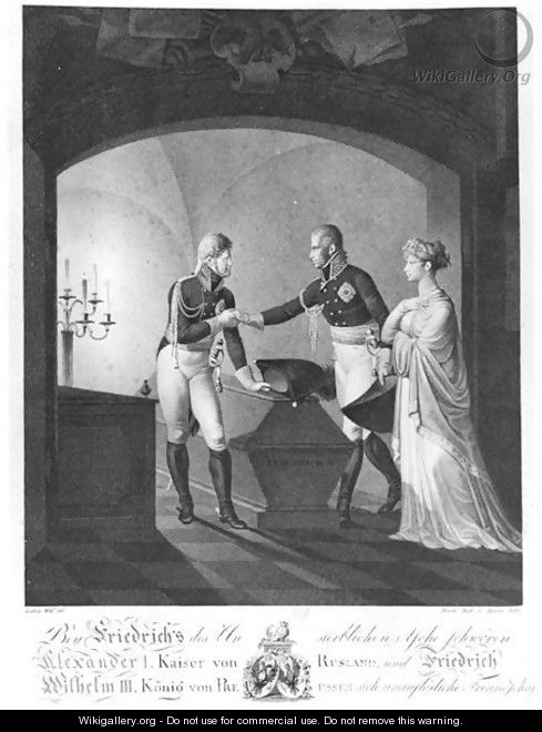 Near the ashes of Friederick II the Great of Prussia (1712-86), Tsar Alexander I (1777-1825) and King Friedrich Wilhelm III of Prussia (1770-1840) swearing immortal friendship, at Potsdam in the night of 4th to 5th November 1805, 1807 - Ulrich Ludwig Wolf