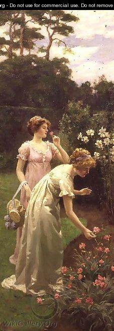 Two Ladies Picking Flowers - Charles Haigh-Wood