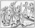 Dancers on Christmas Night punished for their impiety, after a woodcut from Liber Chronicarum Mundi, published Nuremburg, 1493 - Michael Wolgemut