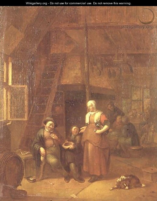 The interior of an inn with a man paying a serving woman - Gillis de Winter