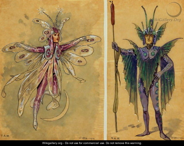 Two costume designs for fairies from
