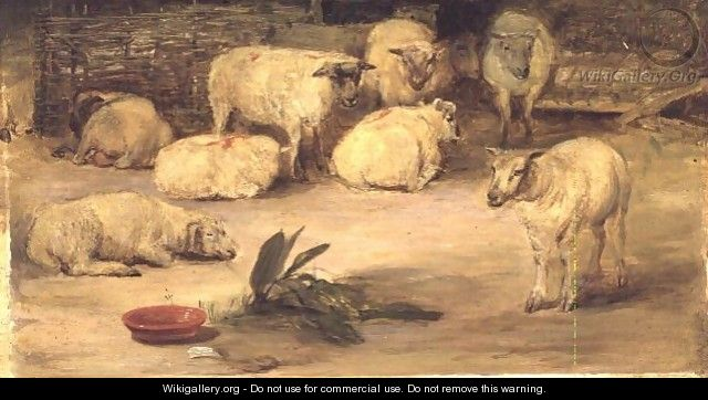 Ten Sheep in a pen - Sir David Wilkie