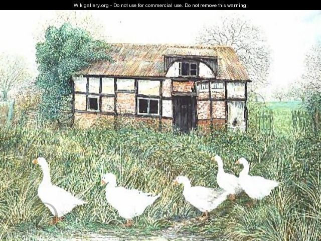 Geese Before a Timbered Cottage - Alexander Williams