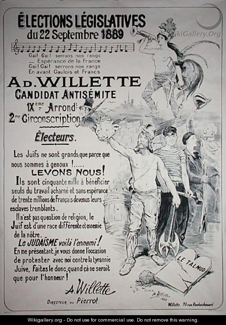 Poster promoting the election of the artist in the Legislative Elections of September 1889 - Adolphe Willette