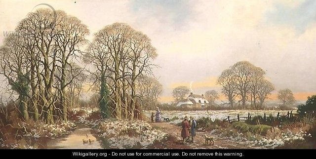 A Rustic Lane at Yuletide - Walter Williams