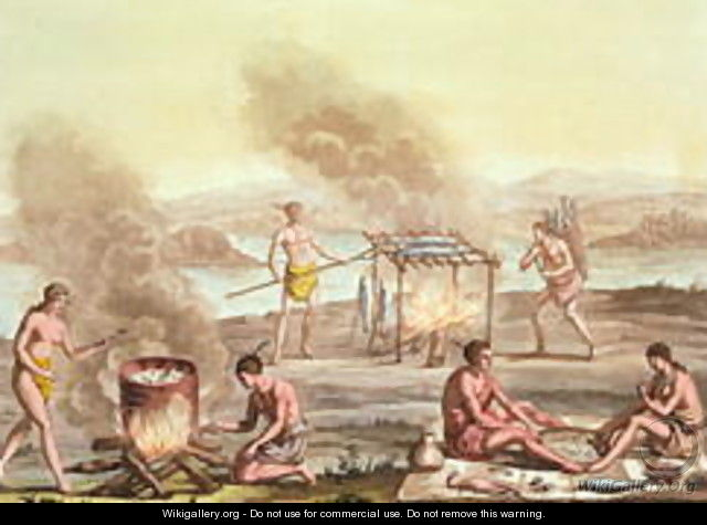 Indigenous natives from Florida preparing and cooking food - John White