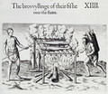 Cooking Fish, plate from A Brief and True Report of the New Found Land of Virginia by Thomas Harriot (1560-1621) pub. 1590 - John White