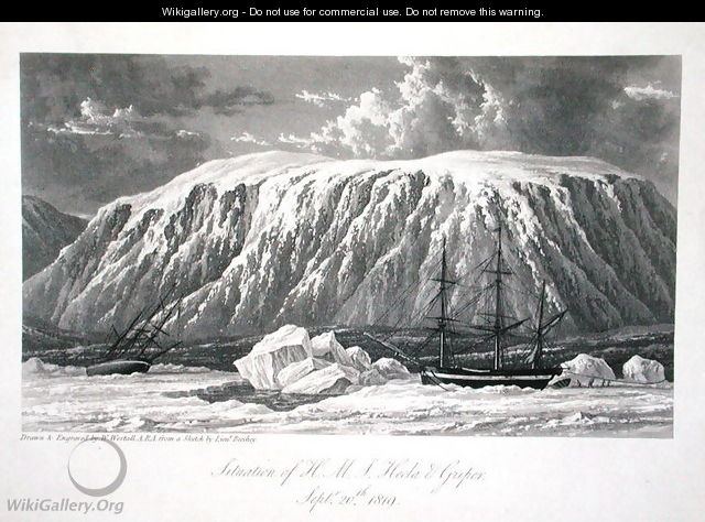 Situation of H.M.S. Hecla & Griper, September 20th 1819, from Journal of a Voyage for the Discovery of a North West Passage from the Atlantic to the Pacific performed in the Years 1819-20, by William Edward Parry, published 1821 - William Westall