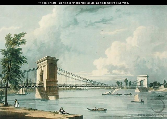 Suspension Bridge, Hammersmith, from Ackermann