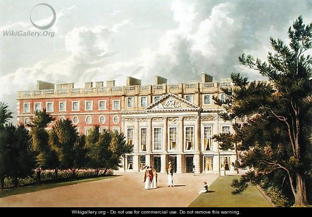 Hampton Court Palace, from The History of the Royal Residences, engraved by Richard Reeve (b.1780), by William Henry Pyne (1769-1843), 1819 - William Westall
