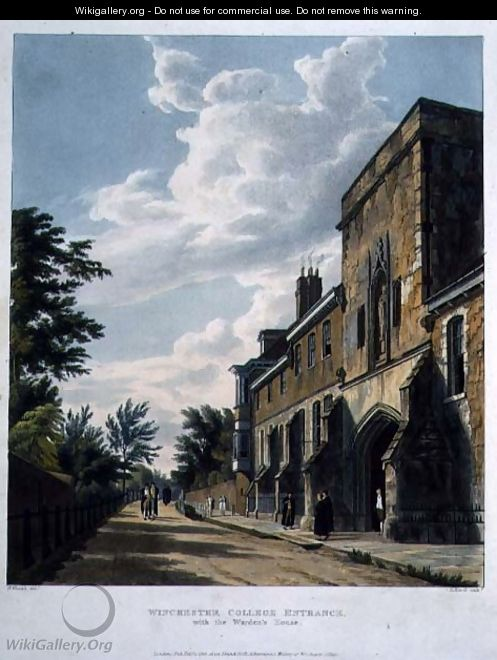 Winchester College Entrance with the Wardens House, from History of Winchester College, part of History of the Colleges, engraved by Daniel Havell (1785-1826) pub. by R. Ackermann, 1816 - William Westall