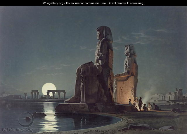 The Colossi of Memnon, Thebes, one of 24 illustrations produced by G.W. Seitz, printed c.1872 - Carl Friedrich H. Werner