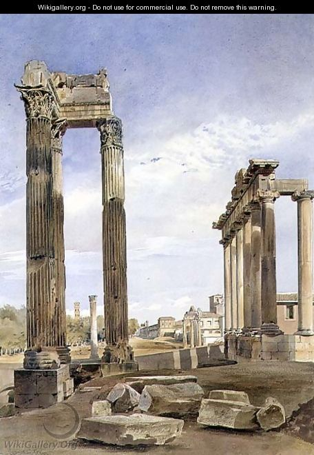 The Temples of Vespasian and Saturn, with the Temple of Castor Beyond, the Forum, Rome - Thomas Hartley Cromek