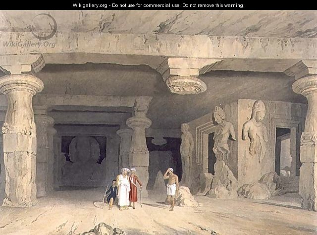 Interior of the Great Cave Temple of Elephanta, near Bombay, in 1803, from Volume II of Scenery, Costumes and Architecture of India, engraved by J. Baily, pub. by Smith, Elder and Company, 1830 - William Westall