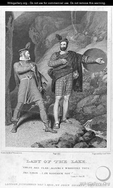 Roderick Dhu and a Clansman, 1810, from Lady of the Lake by Walter Scott (1771-1832) - Richard Westall