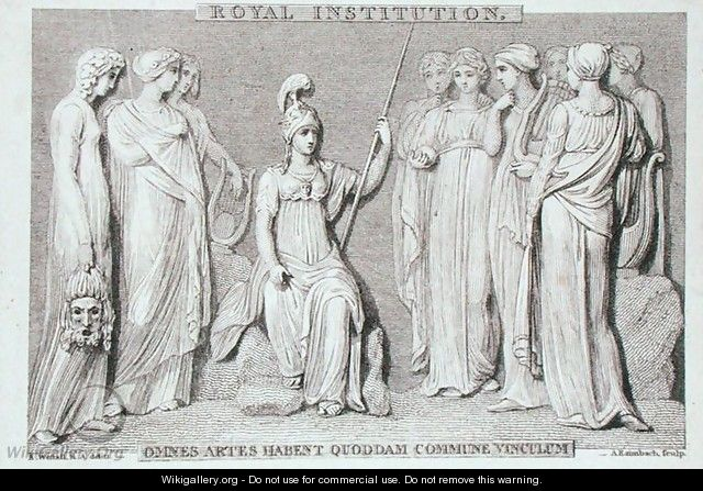 The Royal Institution card, engraved by A. Rannbach, from Michael Faradays scrapbook - Richard Westall