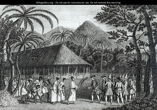 Captain Samuel Wallis (1728-1830) being received by Queen Oberea on the Island of Tahiti, from