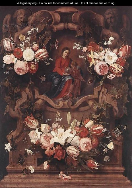 Floral Wreath with Madonna and Child - Daniel Seghers