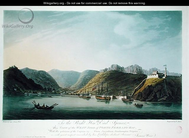 View of the West Side of Porto Ferraio Bay, Elba, engraved by Francis Jukes (1747-1812) published by J. Daniell, April 1814 - (after) Weir, Captain James