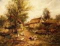 Poultry by a Pond in a Farmyard - Johan Hendrik Weissenbruch
