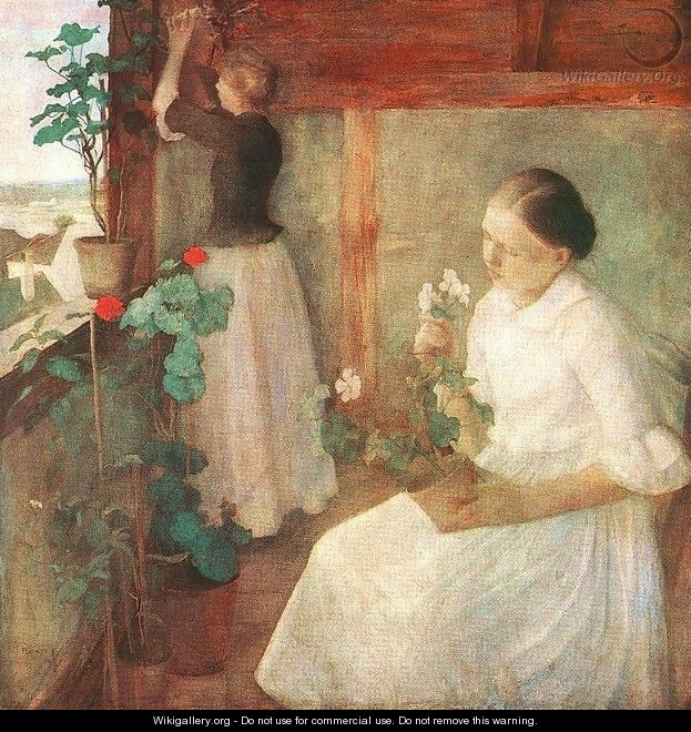 Girls Attending to Flowers 1889 - Karoly Ferenczy