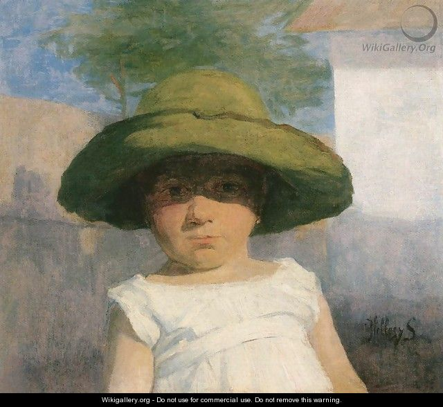 Girl with a Large Green Hat c. 1900 - Simon Hollosy
