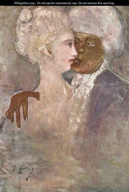 The Mulatto and the Sculpturesque White Woman 1910-13 - Lajos Gulacsy