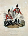 Grenadiers and Light Infantry of the 29th or, Worcestershire Regiment of Infantry on Duty at Home, from Costumes of the Army of the British Empire, according to the last regulations 1812, engraved by J.C. Stadler, published by Colnaghi and Co. 1812-15 - Charles Hamilton Smith