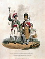 Drum Major and Co of a Regiment, of the Line with Pioneer of the Grenadier Company of D, from Costumes of the Army of the British Empire, according to the last regulations 1812, engraved by J.C. Stadler, published by Colnaghi and Co. 1812-15 - Charles Hamilton Smith