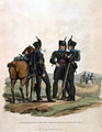 Hussars and Infantry of the Duke of Brunswick Oelss Corps, from Costumes of the Army of the British Empire, according to the last regulations 1812, engraved by J.C. Stadler, published by Colnaghi and Co. 1812-15 - Charles Hamilton Smith