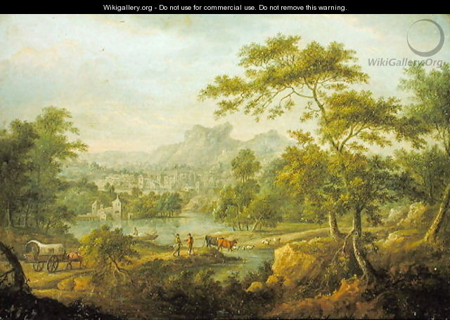 An Imaginary Landscape with a Wagon and a Distant View of a Town - Thomas Smith of Derby