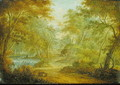 A Wooded Landscape with a Stream and a Fisherman - Thomas Smith of Derby