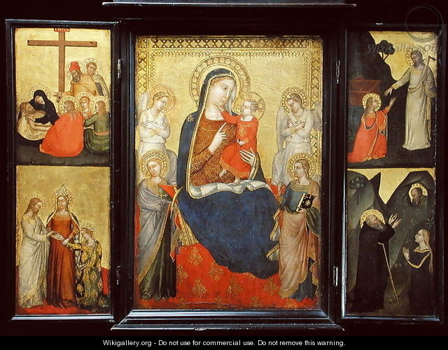 Triptych, Madonna and Child Enthroned flanked by scenes from the Life of Christ - Puccio di Simone