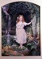 A Girl Standing by a Waterfall - John Simmons