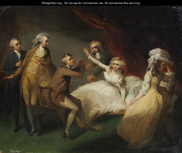 Camilla recovering from her swoon, illustration of a scene from Camilla, or A Picture of Youth, published in 1796 - Henry Singleton